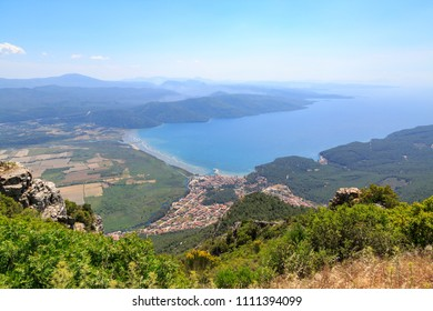 Akyaka cityscape from sakartepe with aegean sea and mountains