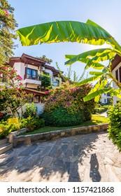 Akyaka, Turkey - August 13, 2018 : Traditional Akyaka Houses view in Akyaka Village of Turkey.