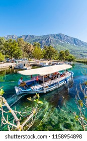 Akyaka, Turkey - August 14, 2018 : People are taking tour on Azmak River in Akyaka Village
