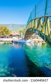 Akyaka, Turkey - August 14, 2018 : Akyaka River view in Akyaka Village of Turkey.