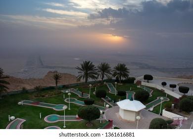 """Al Ain, Abu Dhabi/United Arab Emirates - 4/2/2019: Mini golf (putt-putt) on top summit of Jebal Hafeet (Jebel Hafit) in Al Ain, United Arab Emirates at the Mercure Grand Hotel."""