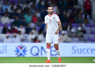 Al Ain, UAE - Jan 14 2019: Ali Mabkhout in action during AFC Asian Cup 2019 between UAE and Thailand at   Hazza bin Zayed Stadium in Al Ain, UAE.