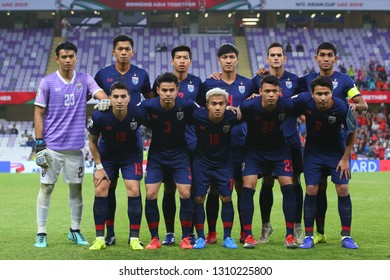 Al Ain, UAE - Jan 20 2019: Thailand team before the game in AFC Asian Cup 2019 Round of 16 between Thailand and China PR at Hazza bin Zayed Stadium in Al Ain, UAE.