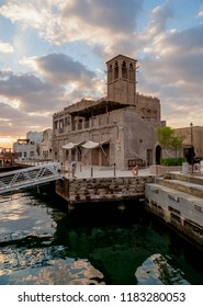 Al Bastakiya Historical Neighborhood and Dubai Creek at sunrise, Dubai, United Arab Emirates