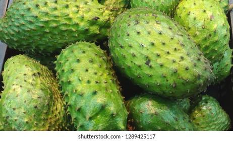 Al Batha, Riyadh / India - January 19 2019: soursop fruit(also graviola, guyabano, and in Latin America, guanábana)