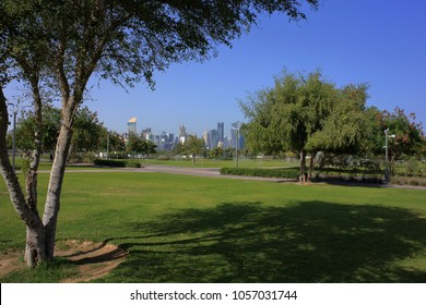 AL BIDDA PARK, DOHA, QATAR - March 28, 2018: A view across the newly opened park in the centre of Qatar's capital.