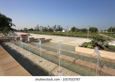 AL BIDDA PARK, DOHA, QATAR - March 28, 2018: A view across the newly opened park in the centre of Qatar's capital from the fountains.