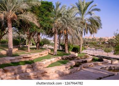 Al Bujairi park in old city in Riyadh, Saudi Arabia. Deriya historical city.