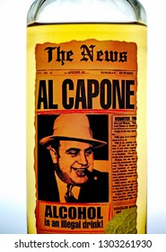 Al Capone ,a bottle of malt alcoholic drink with image of famous the US gangster Al Capone and The News newspaper on a label in Kiev, Ukraine, 3 February 2019.