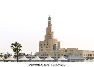Al fanar view in daytime with canopies all around it