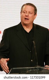 """Al Gore at a press conference to Announce the Global Climate Crisis Campaign Concert """"Save Our Selves"""". California Science Center, Los Angeles, CA. 01-15-07"""