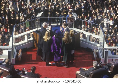 Al Gore, taking oath as Vice President on Inauguration Day from Chief Justice William Rehnquist on January 20, 1993 in Washington, DC