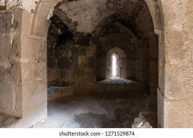 Al Jaya, Jordan, December 06, 2018 : The room with loopholes on the corner tower in the medieval fortress Ash Shubak, standing on a hill near Al Jaya city in Jordan