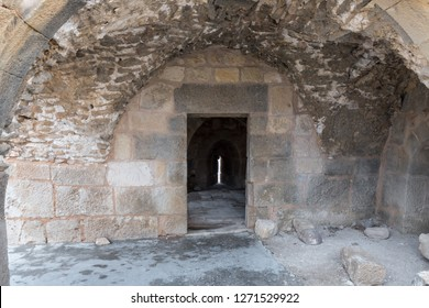 Al Jaya, Jordan, December 06, 2018 : Entrance to the room with loopholes on the corner tower in the medieval fortress Ash Shubak, standing on a hill near Al Jaya city in Jordan