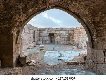 Al Jaya, Jordan, December 06, 2018 : Exit to the platform with loopholes on the corner tower in the medieval fortress Ash Shubak, standing on a hill near Al Jaya city in Jordan