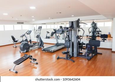 AL JUFFAIR, BAHRAIN - MAY 4, 2018: The modern equiped gymnasium on the 20th floor of the Diva hotel in Bahrain