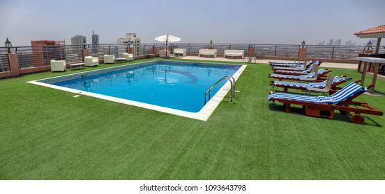 AL JUFFAIR, BAHRAIN - MAY 4, 2018: The pool deck on top of the Diva hotel in Bahrain.