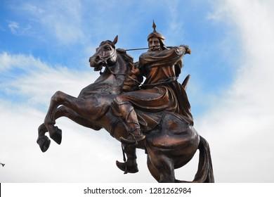al Karak, Jordan- 02th December, 2018: Statue of the famous warrior Saladin (Ṣalāḥ ad-Dīn) outside mosque in Al Karak, Jordan
