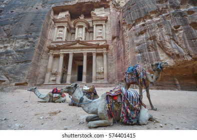 Al Khazneh in the ancient city of Petra, Jordan. The Treasury. Petra has led to its designation as a UNESCO World Heritage Site.