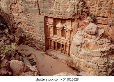 Al Khazneh - the main sign of ancient site of Petra. Jordan.