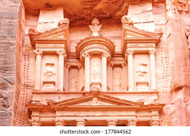 Al Khazneh is one of the most elaborate temples in the ancient Jordanian city of Petra, Jordan.