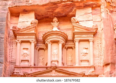 Al Khazneh is one of the most elaborate temples in the ancient Jordanian city of Petra, Jordan.  It is known as The Treasury.