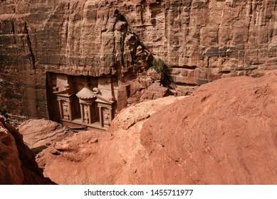 Al Khazneh - the treasury, ancient city of Petra, Jordan. View from the top.