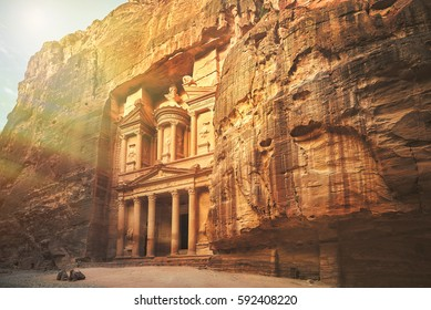 Al Khazneh - the treasury, ancient city of Petra by night, Jordan