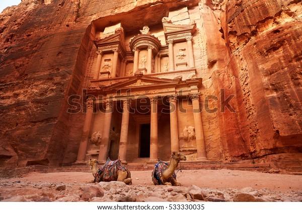 Al Khazneh - el tesoro, antigua ciudad de Petra, Jordania