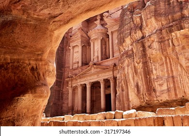 Al Khazneh - the treasury of Petra ancient city, Jordan. View from tomb