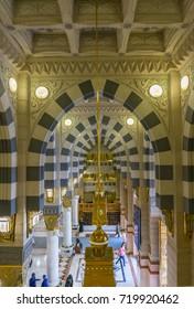 AL MADINA, SAUDI ARABIA-DECEMBER 19, 2014: Interior top view of Masjid Nabawi (Nabawi mosque) in Al Medina, Kingdom os Saudi Arabia.
