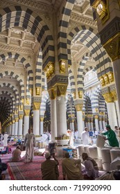 AL MADINA, SAUDI ARABIA-DECEMBER 19, 2014: Interior view of Masjid Nabawi (Nabawi mosque) in Al Medina, Kingdom os Saudi Arabia.