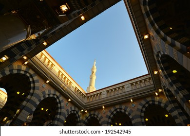 AL MADINAH, KINGDOM OF SAUDI ARABIA- MAY, 28: Islamic Holy Mosque at Medina in highest unique on May 28, 2013 in Al Madinah, S. Arabia. The view from inside one of the towers of the Holy Mosque.