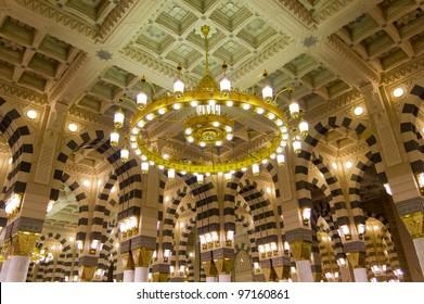 AL MADINAH, KINGDOM OF SAUDI ARABIA-FEB. 19: Interior of Masjid (mosque) Nabawi on February 19, 2012 in Al Madinah, S. Arabia. Nabawi mosque is the 2nd holiest mosque in Islam.