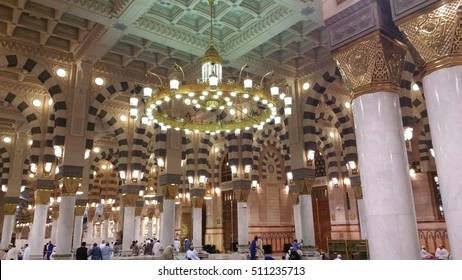 AL MADINAH, SAUDI ARABIA, Interiot of Masjid (mosque) Nabawi on september 22, 2016 in Al Madinah, S. Arabia. Nabawi mosque is the 2nd holiest mosque in Islam.