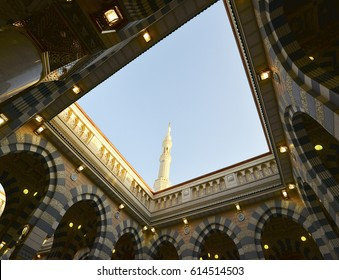 AL MADINAH, SAUDI ARABIA, Interiot of Masjid (mosque) Nabawi on March 22, 2017 in Al Madinah, S. Arabia. Nabawi mosque is the 2nd holiest mosque in Islam