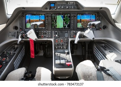 AL MAKTOUM AIRPORT - NOVEMBER 16: A cockpit view of a very advance training aircraft of Etihad airways as seen on the November 16, 2017 in the Dubai Airshow.