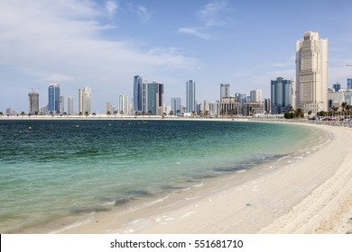 Al Mamzar beach in the city of Dubai. United Arab Emirates, Middle East