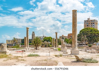 Al Mina archaeological site in Tyre, Lebanon. It is located about 80 km south of Beirut. Tyre has led to its designation as a UNESCO World Heritage Site in 1984.