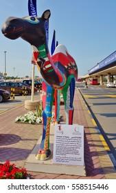 AL MUHARRAQ, BAHRAIN -22 DEC 2016- A dromedary camel sculpture in front of the terminal at the Bahrain International Airport (BAH). It is a hub for national carrier Gulf Air (GF).