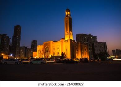 Al Noor Mosque in Sharjah at night. United Arab Emirates