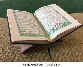 Al Quran book open on the shelf on the carpet in mosque bankok thailand 18 May 2018