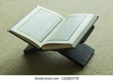 Al Quran book open on the shelf on the carpet in mosque bankok thailand 1 June 2018