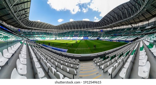 Al Rayyan, Qatar - Feb 2021: Education City Stadium, is a football stadium which is located in Al Rayyan, Qatar. Was built as a venue for the upcoming 2022 FIFA World Cup held in Qatar. Panoramic shot