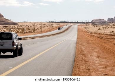 Al Ula, Saudi Arabia, February 20 2020: Typical road in Saudi Arabia that leads through the desert.