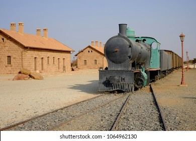 Al Ula, Saudi Arabia - September 23, 2018: Restored Hejaz railway train built for by the Ottoman Empire that was exploded by T. E. Lawrence  during World War I.