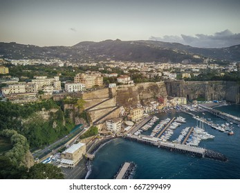 al view of Mediterranean and living district near the yacht harbour in Italy.