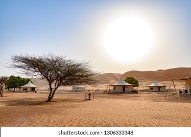 Al Wasil, Oman - August 15, 2018: Wahiba Sands in Oman at morning. It is known as Sharqiya Sands or Ramlat al-Wahiba.