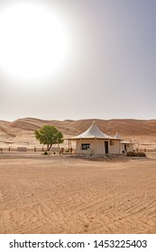 Al Wasil, Oman - August 16, 2018: Desert Nights Camp in Wahiba Sands, Oman.