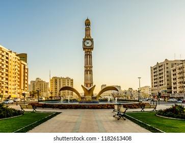 Al Zahra Square, Clock Tower, Sharjah, United Arab Emirates. Photographed on 07/02/2016